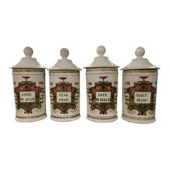 Set of Four Fabulous French Pharmacy Apothecary Jars, 19th Century