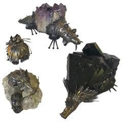 Set aus Vier Fantastischen Tieren Geode Sterling Massiv 925, 1970