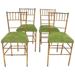 Set of Four Faux Bamboo Chairs in Gilt Iron