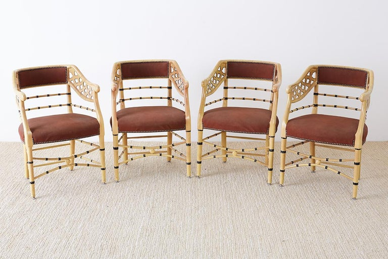Regency Set of Four Faux-Bamboo Lacquered Lounge Chairs For Sale