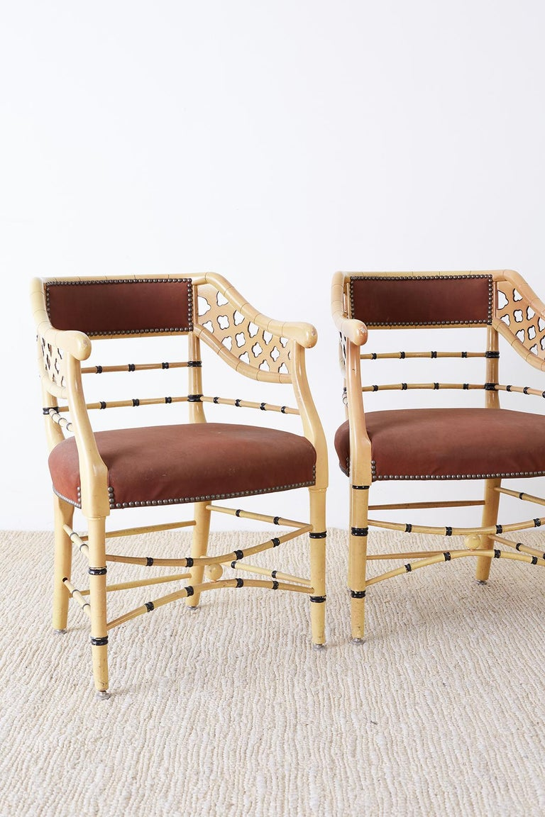 American Set of Four Faux-Bamboo Lacquered Lounge Chairs For Sale