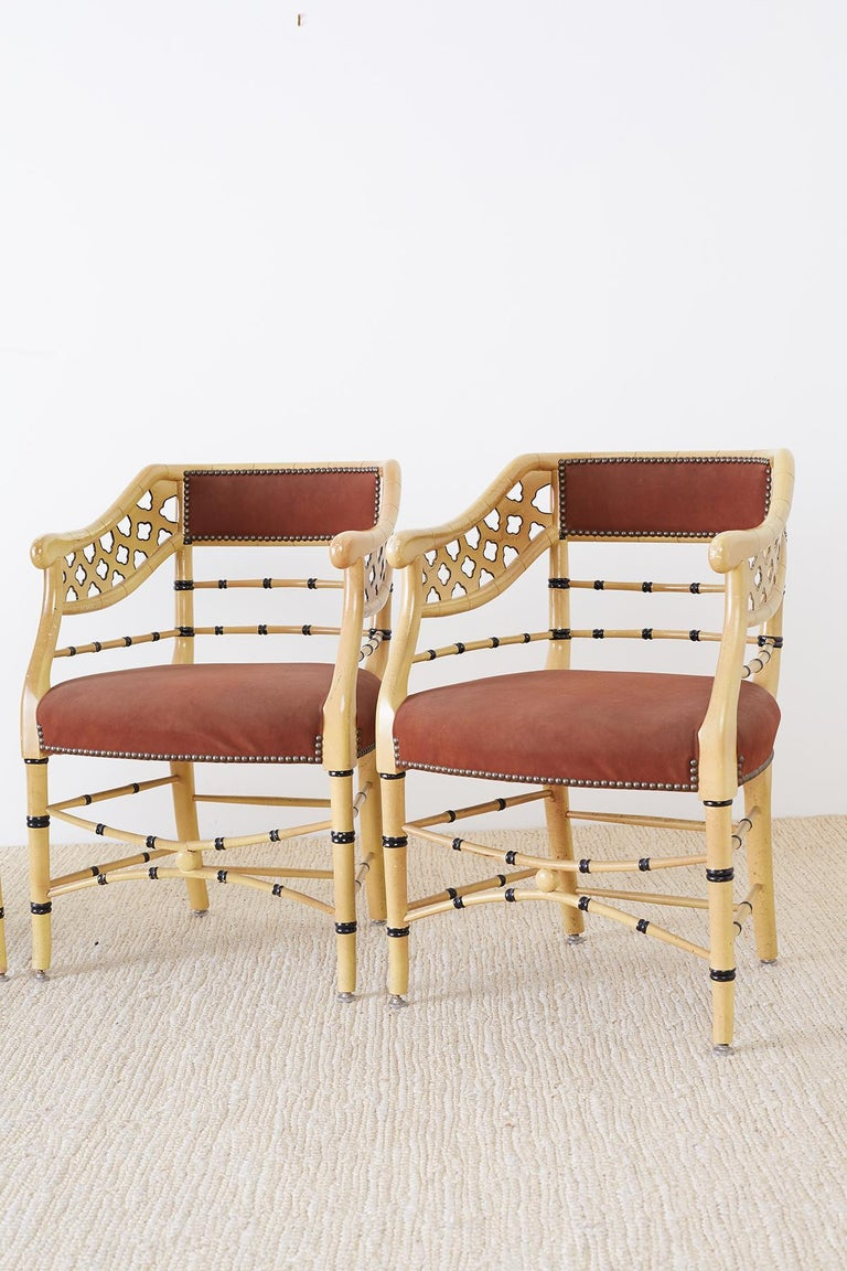 Hand-Crafted Set of Four Faux-Bamboo Lacquered Lounge Chairs For Sale
