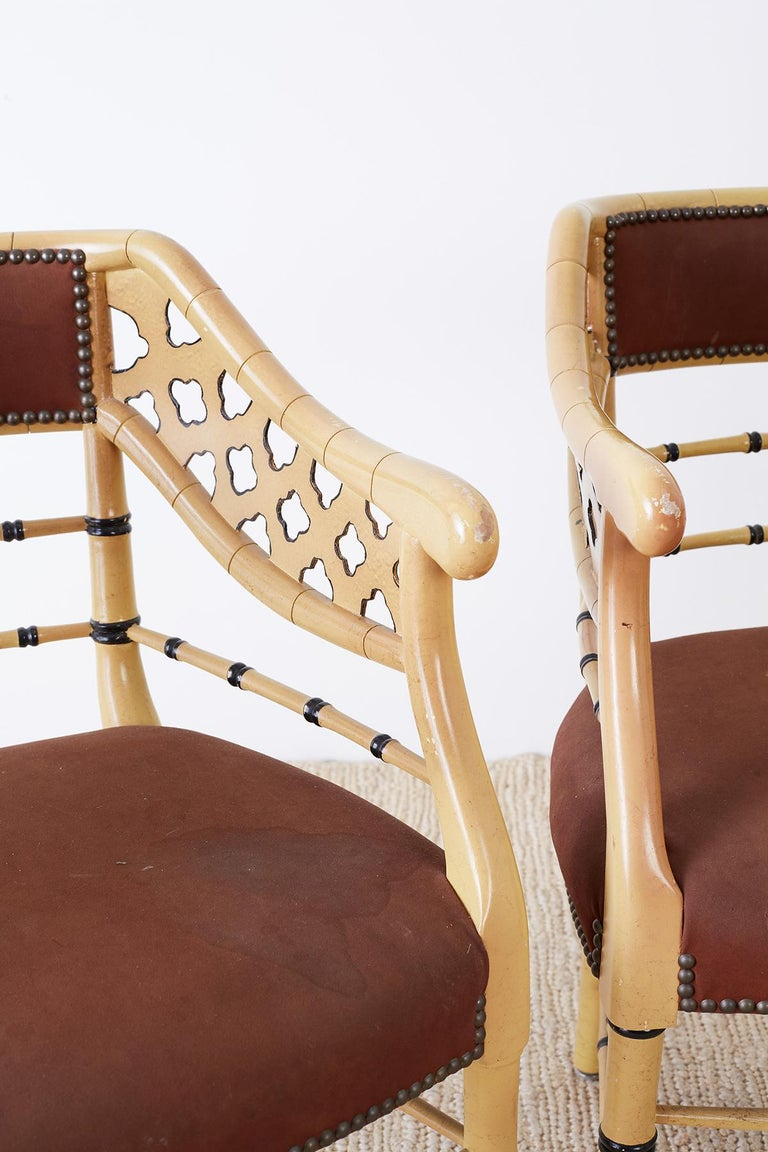 Set of Four Faux-Bamboo Lacquered Lounge Chairs In Distressed Condition For Sale In Oakland, CA