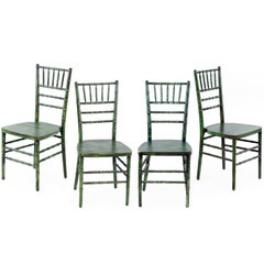 Set of Four Faux Bamboo Opera Chairs with Faux Finish