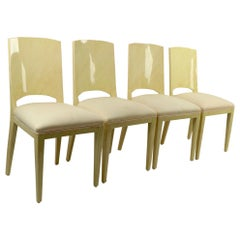 Set of Four Faux Skin Lacquered Paper Dining Chairs after Springer