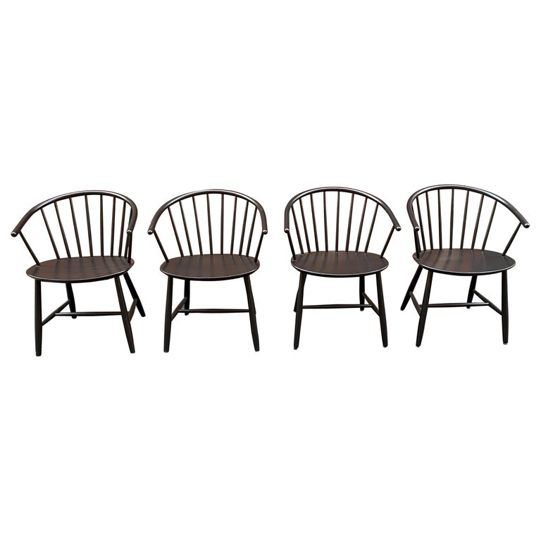 Set of Four FDB Mobler Denmark Spindle Back Chairs by Ejvind Johansson