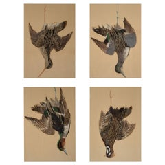 Set of Four Feather Pictures of Hanging Game Birds