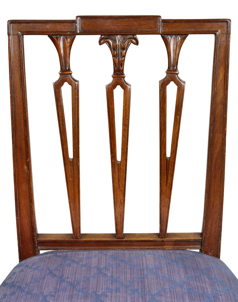 Set of Four Federal Mahogany Side Chairs In Good Condition For Sale In Essex, MA