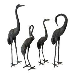 Set of Four Figures of Cranes