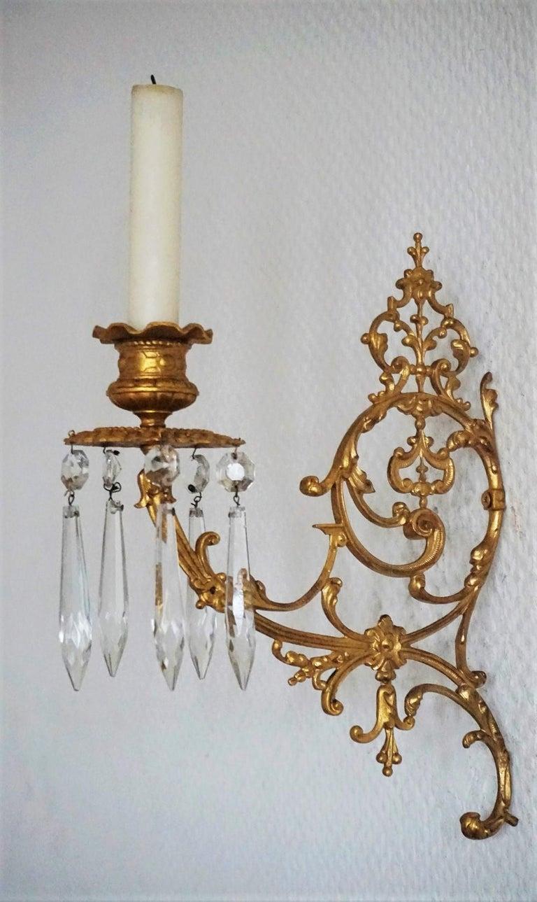 Set of Four Fine French Louis XVI Period Gold Doré Bronze Sconces, Candleholders For Sale 1