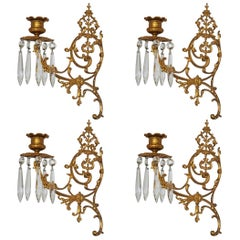 Set of Four Fine French Louis XVI Period Gold Doré Bronze Sconces, Candleholders