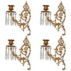 Set of Four Fine French Louis XVI Period Gold Doré Bronze Sconces, Candleholders