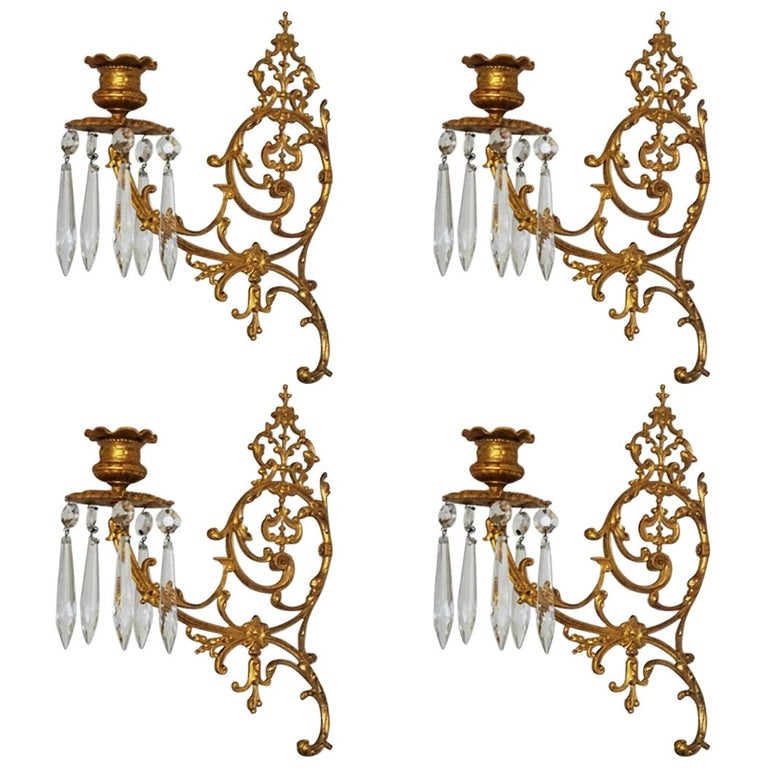 Set of Four Fine French Louis XVI Period Gold Doré Bronze Sconces, Candleholders For Sale