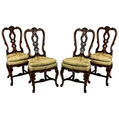 Set of Four Fine George II Faux Walnut and Gilded Dining Chairs