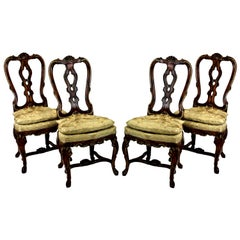 Set of Four Fine George II Faux Walnut and Gilted Dining Chairs