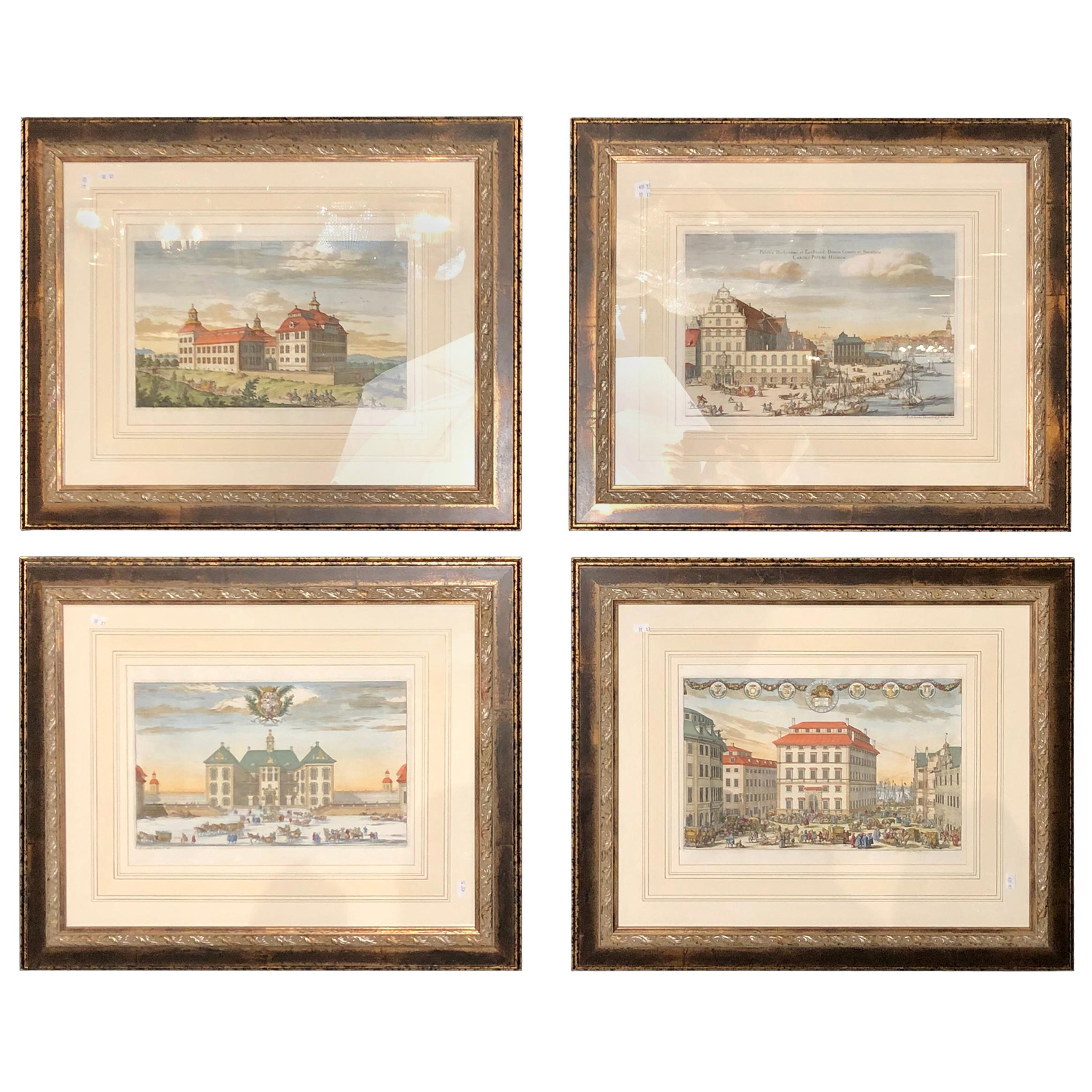Set of Four Finely Framed and Matted Engravings