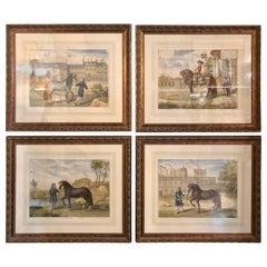Set of Four Finely Framed and Matted Engravings of English Men on Their Horses