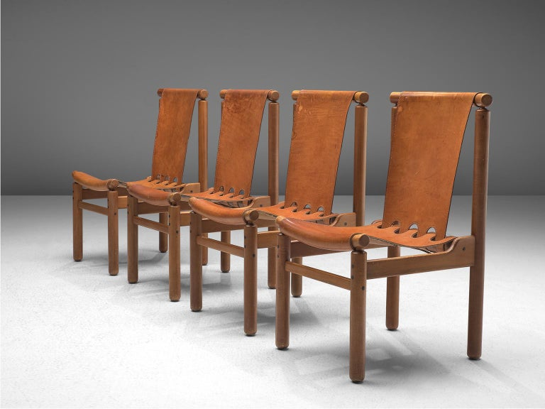Dining chairs, wood and leather, Finland, 1950s.