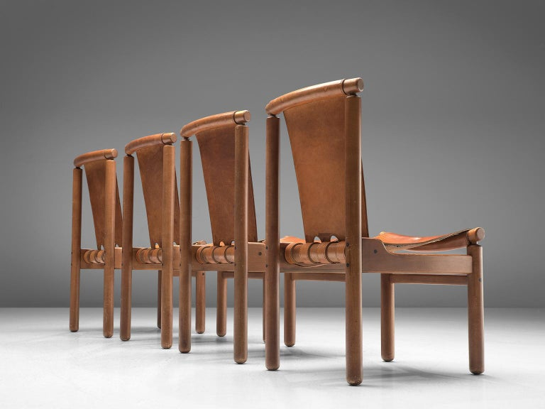 Mid-Century Modern Set of Four Finnish Dining Chairs in Patinated Cognac Leather For Sale