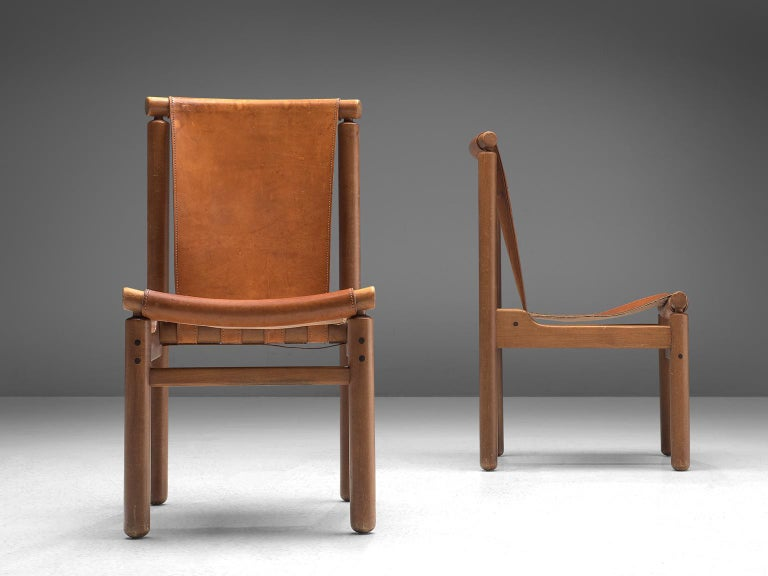 Set of Four Finnish Dining Chairs in Patinated Cognac Leather In Good Condition For Sale In Waalwijk, NL