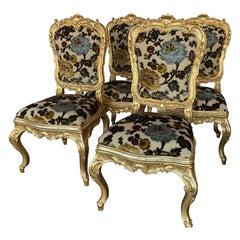 Set of Four Florentine Gilt Chairs