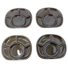 Set of Four Fondue Plates, Gien Pottery, France, 1970s