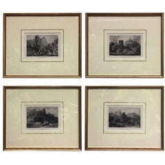 Set of Four Framed 18th Century German Copper Engravings