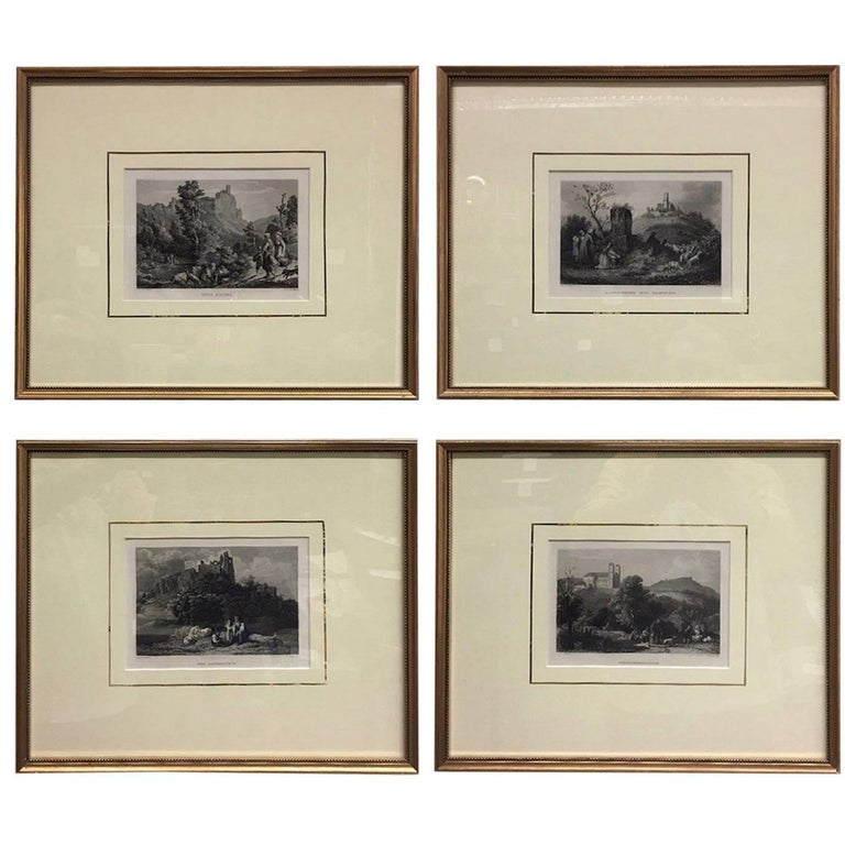 Set of Four Framed 18th Century German Copper Engravings For Sale
