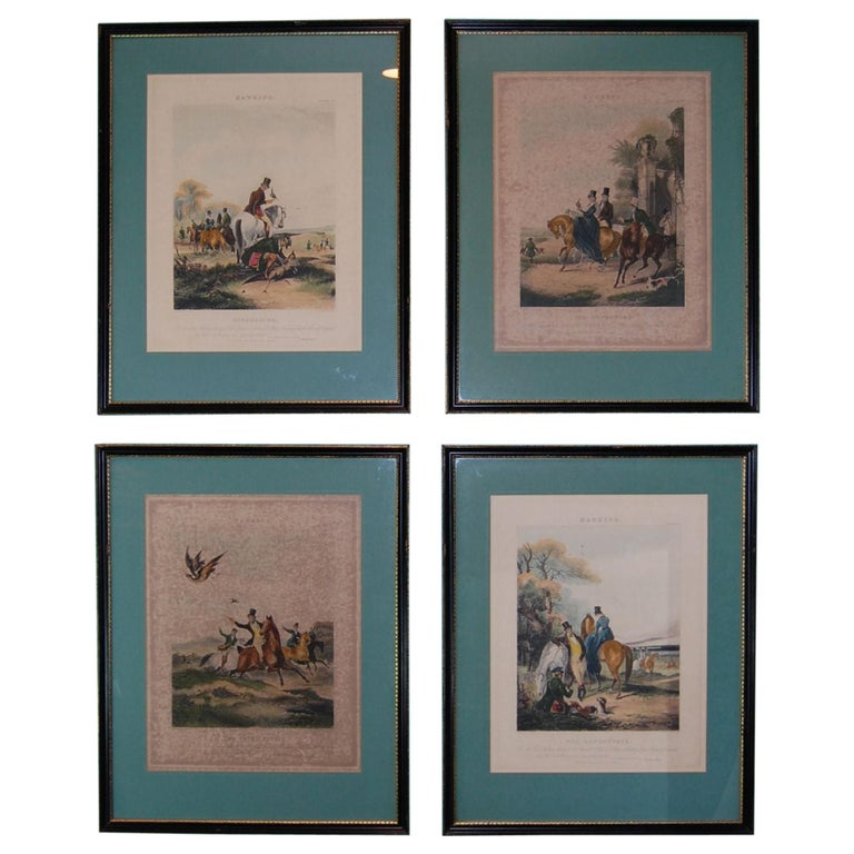 Set of Four Framed and Matted English Hawking Prints, circa 1870 For Sale