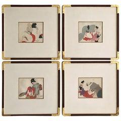 Set of Four-Framed Antique Japanese Shunga Paintings on Silk