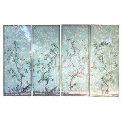 "Set of Four Framed ""Eastern Eden"" Iksel Wallpaper Panels"