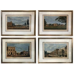 Set of Four Framed English Hand Colored Copper Engravings