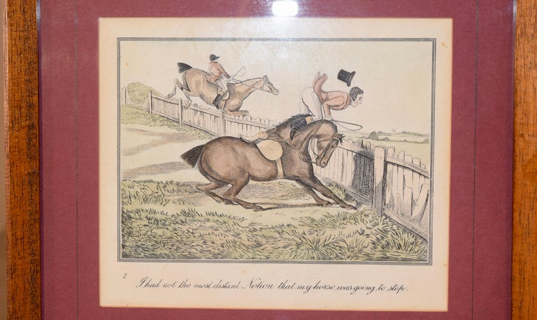 Set of four humorous framed engravings by Henry Alken. From the original works called