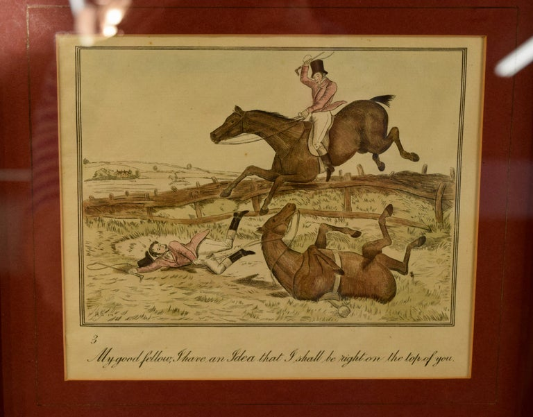 Engraved Set of Four Framed Equestrian Engravings
