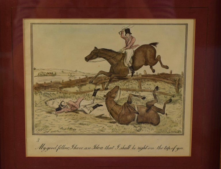 Set of Four Framed Equestrian Engravings In Good Condition In High Point, NC