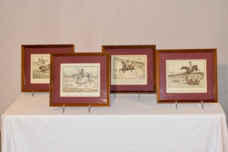 Glass Set of Four Framed Equestrian Engravings