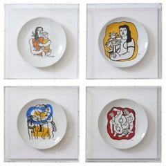 Set of Four Framed F. Leger Porcelain Plates