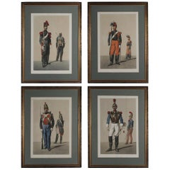 Set of Four Framed French Military Colored Engravings Dated 1859