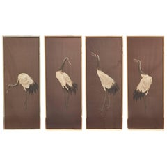 Set of Four Framed Japanese Silk Needlework Panels of Cranes, Meiji, circa 1900