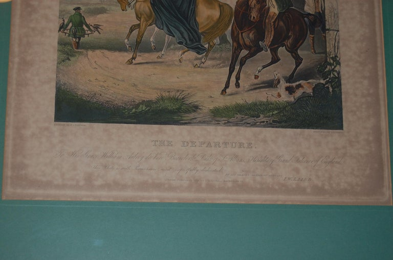 Set of Four Framed and Matted English Hawking Prints, circa 1870 For Sale 2