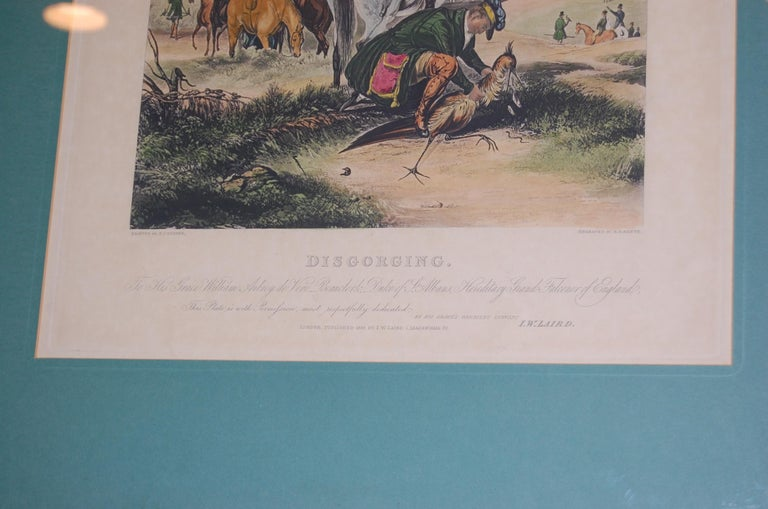 Set of Four Framed and Matted English Hawking Prints, circa 1870 For Sale 3