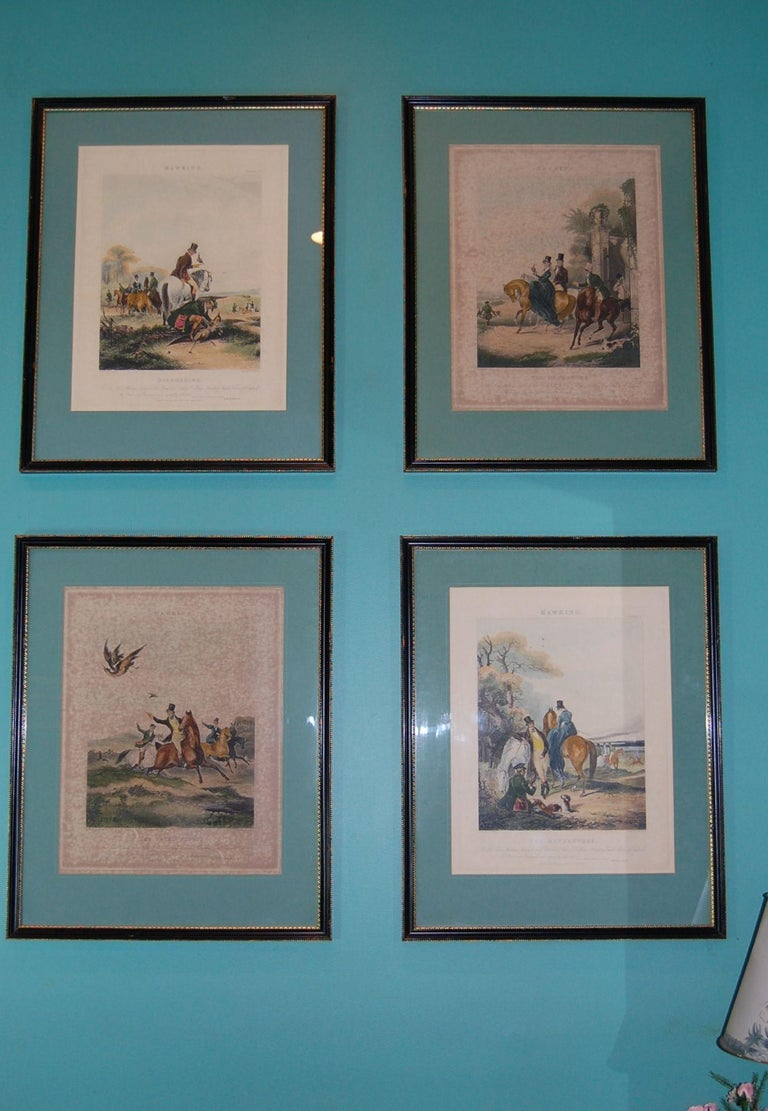 Set of Four Framed and Matted English Hawking Prints, circa 1870 For Sale 6