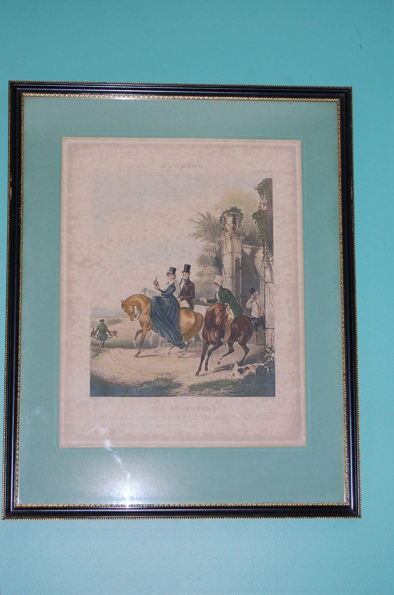 Complete set of four large hawking prints drawn by F.C. Turner and published in London by I.W. Laird, mid-19th century. The four are titled: The Rendezvous; The Departure; The Fatal Stoop & Disgorging. For His Grace William Aubrey de Vere Beauclerk,