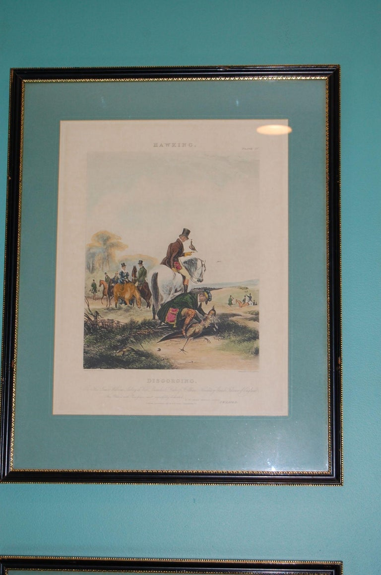 Georgian Set of Four Framed and Matted English Hawking Prints, circa 1870 For Sale