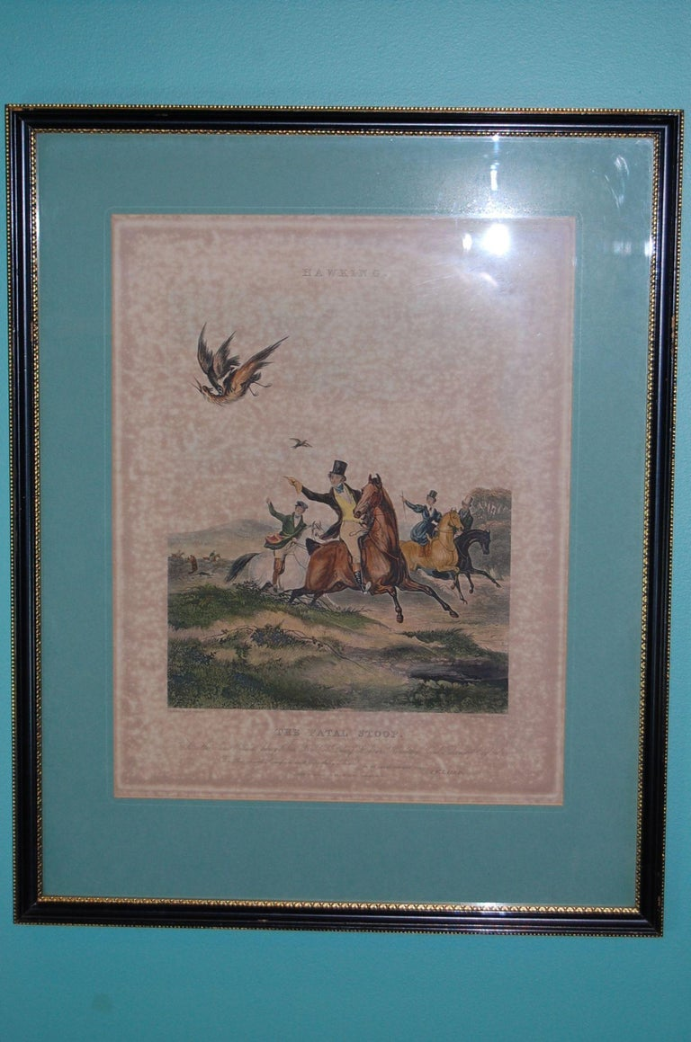 British Set of Four Framed and Matted English Hawking Prints, circa 1870 For Sale