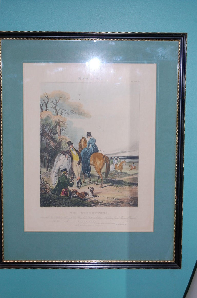 Hand-Painted Set of Four Framed and Matted English Hawking Prints, circa 1870 For Sale