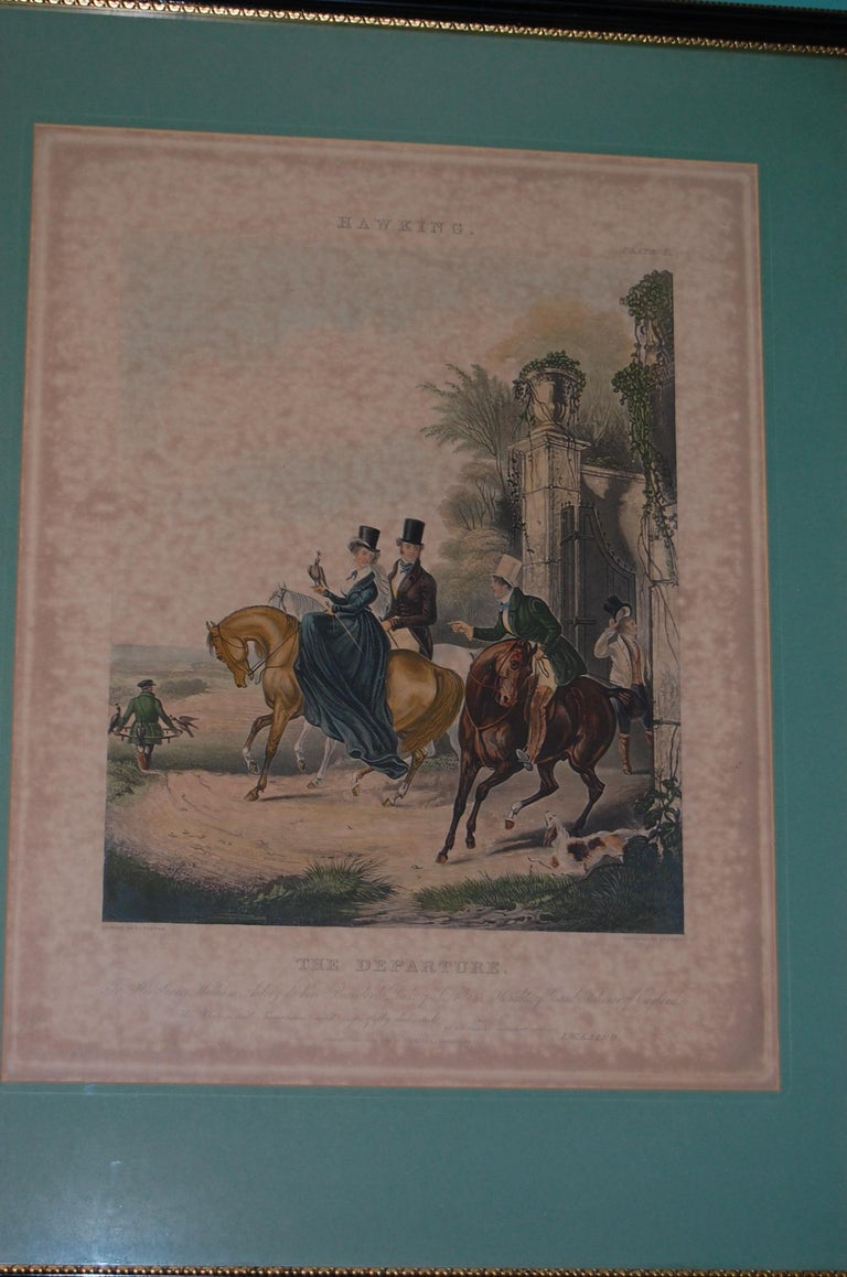 Set of Four Framed and Matted English Hawking Prints, circa 1870 In Fair Condition For Sale In Pittsburgh, PA