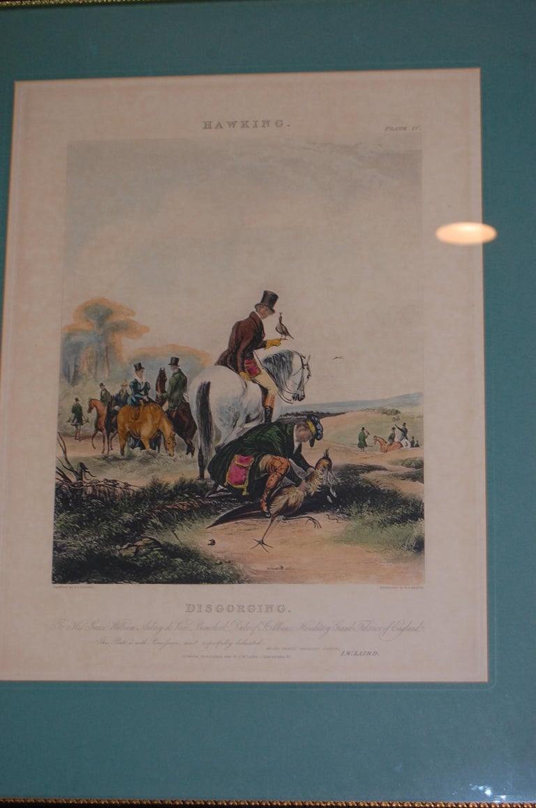 19th Century Set of Four Framed and Matted English Hawking Prints, circa 1870 For Sale