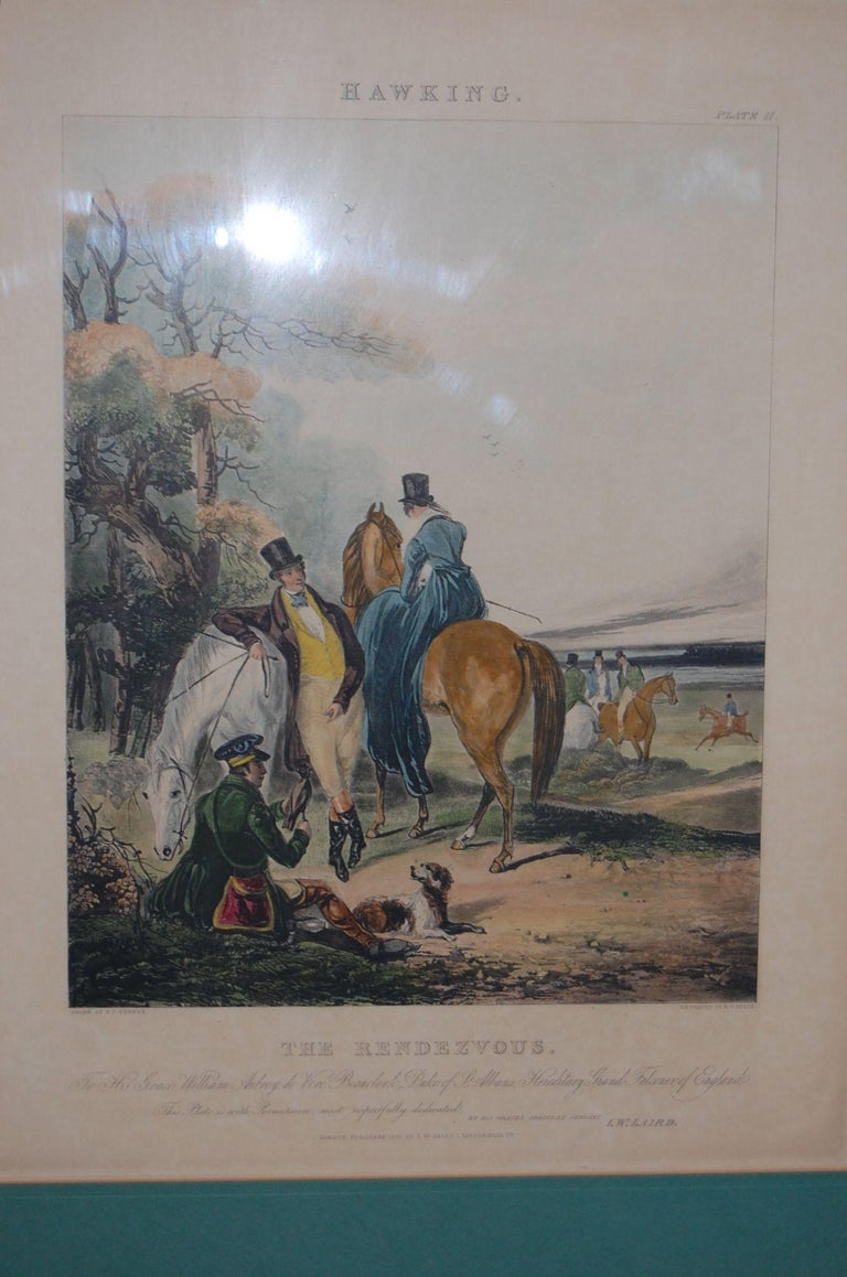 Paper Set of Four Framed and Matted English Hawking Prints, circa 1870 For Sale