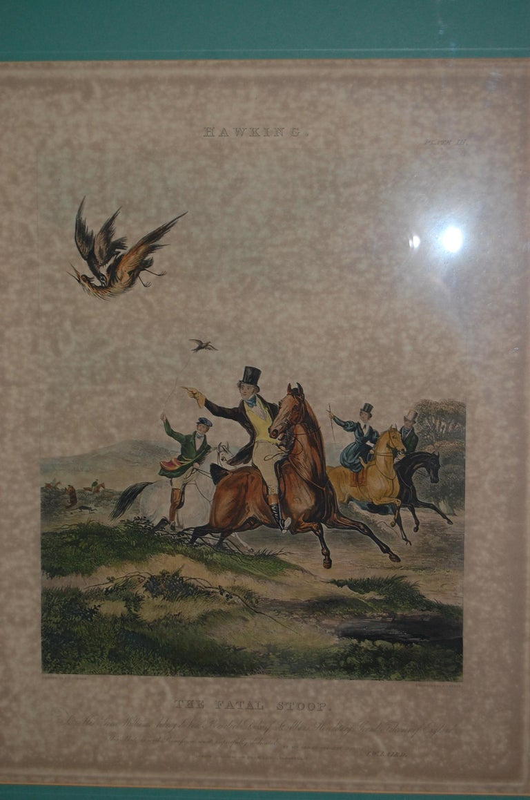 Set of Four Framed and Matted English Hawking Prints, circa 1870 For Sale 1